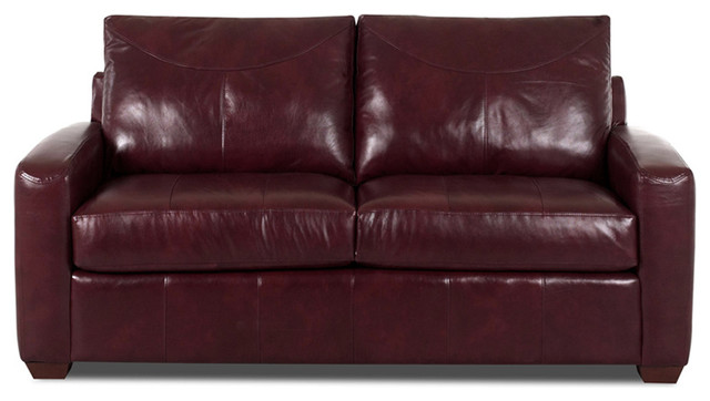 Medium image of boulder leather full sleeper sofa in durango burgundy contemporary futons