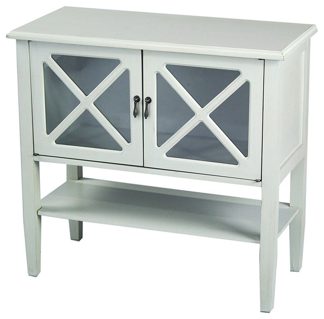2-Door Console Cabinet With 4-Pane Glass and Bottom Shelf, Seafoam ...