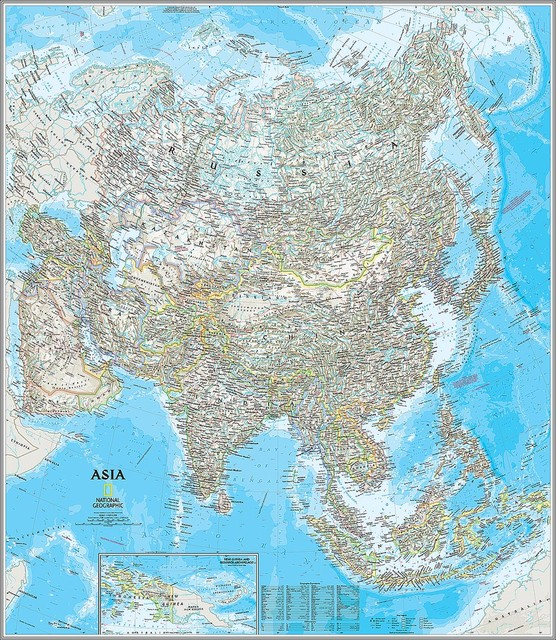 Classic Asia Map Wall Mural, Self-Adhesive Wallpaper