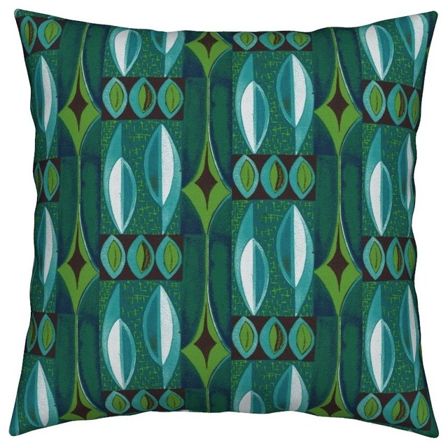 Seattle Mid Century Modern Tiki Modern Throw Pillow Cover Linen Cotton