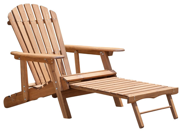 Miraculous Oversized Classic Adirondack Chair With Pull Out Ottoman In Natural Cjindustries Chair Design For Home Cjindustriesco