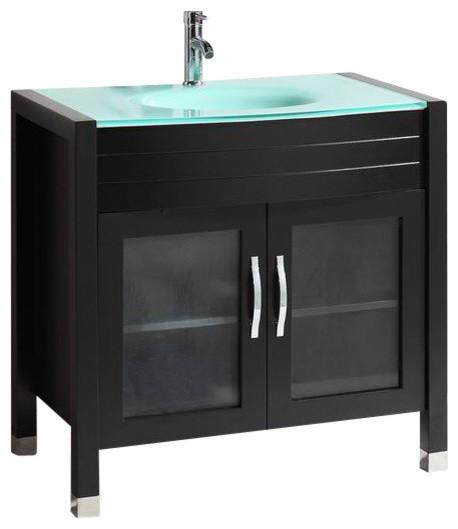 "Bathroom Vanity Sale New Zealand vanity with tempered glass sink top, 36"" - transitional - bathroom"