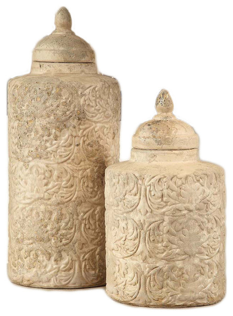 2 Piece Camden Sand Stone Finish Ceramic Canisters Set.