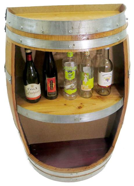 "Split Barrel Shelf, handcrafted with reclaimed wine barrel, 36""H x 26""W x 13""D"