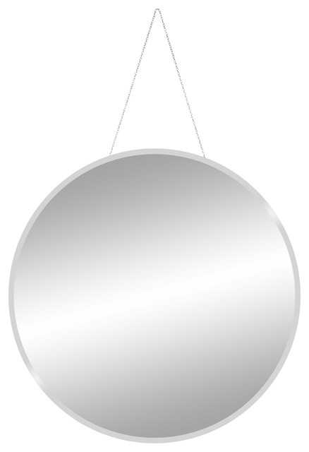 "Frameless Beveled Wall Mirror With Hanging Chain, 28""."