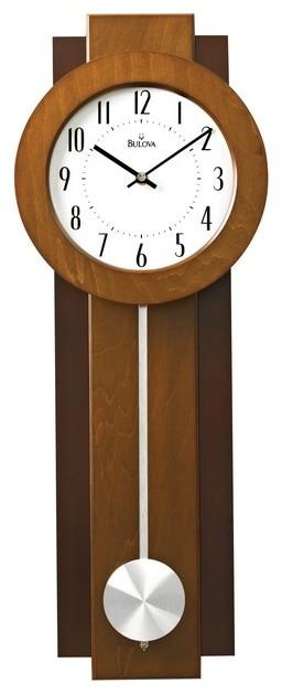 Bulova Avent Modern Pendulum Wall Clock Dual Finish Aluminum