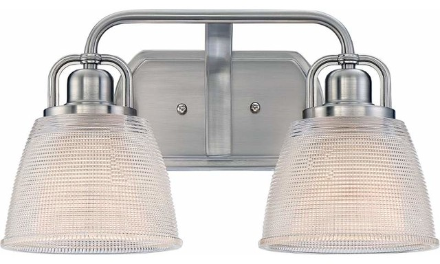 2 Light Standard Bulb Bath Vanity Light, Brushed Nickel - Transitional - Bathroom Vanity ...