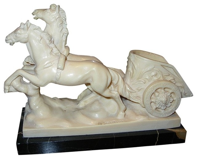 charging horse-drawn chariot sculpture signed: a santini - home