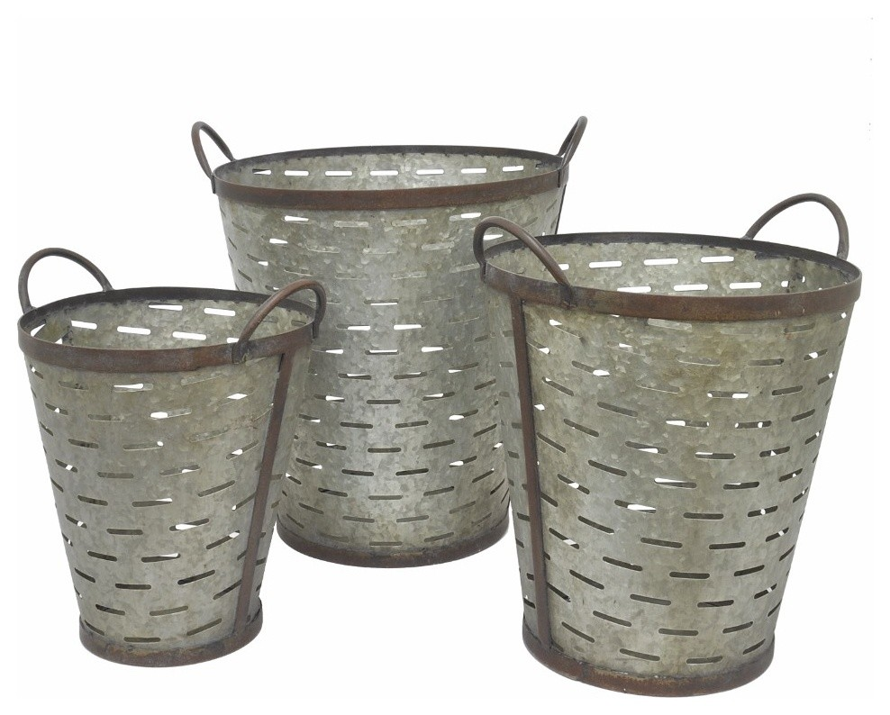 Pierced Galvanized Metal Buckets 3 Piece Set Farmhouse Garden Statues And Yard Art By Benzara Woodland Imprts The Urban Port