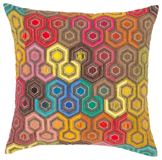 Geodesic Embroidered Decorative Pillow 22