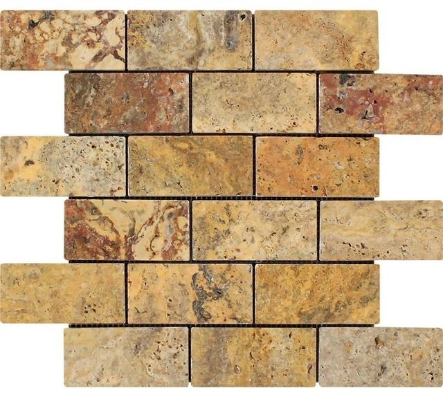 "12""x12"" Tumbled Scabos Travertine Brick Mosaic Tile, Set Of 20."