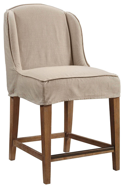 Slip Cover Counter Stool Transitional Bar Stools And