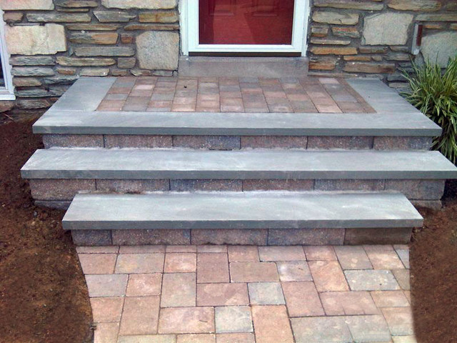 PA Bluestone Step Treads With Coventry Pavers   Rustic ...