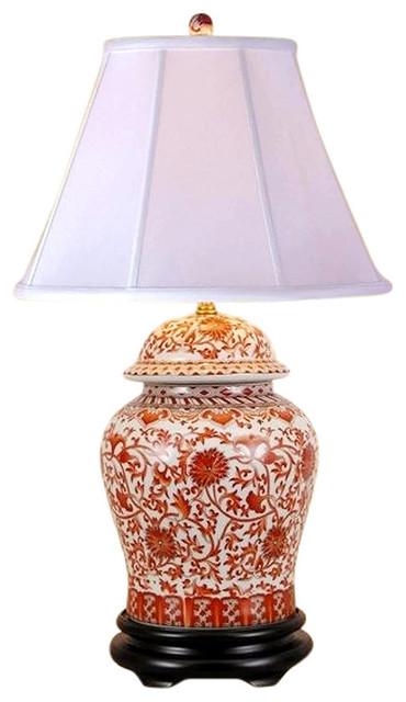 Oriental Porcelain Orange And White Ginger Jar Lamp Lotus Pattern 29