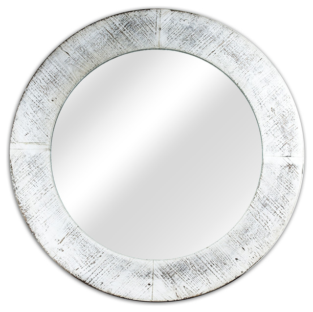 Round Antiqued White Wooden Framed Wall Mirror.