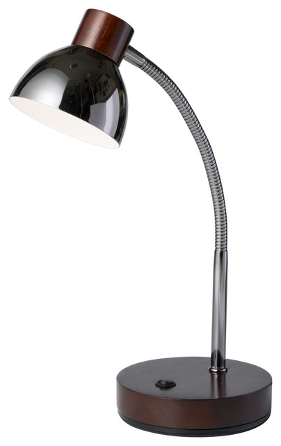 """13"""" Tall Metal Goose Neck Table LED Lamp With Cone-Shaped Shade, Espresso"""