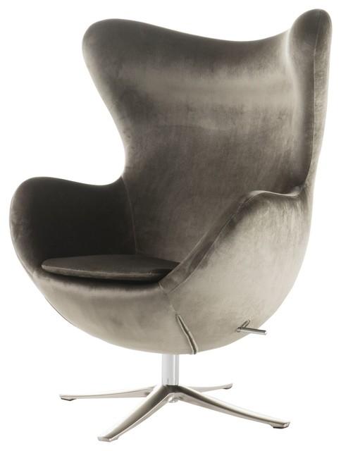 Gadot Grey New Velvet Modern Swivel Chair Midcentury