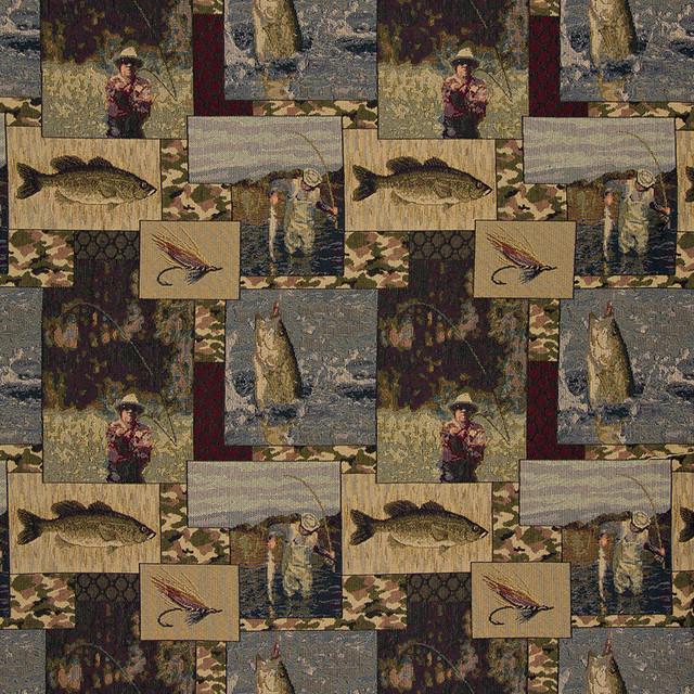 Fishermen Lures Fly Fishing  Themed Tapestry Upholstery Fabric By The Yard