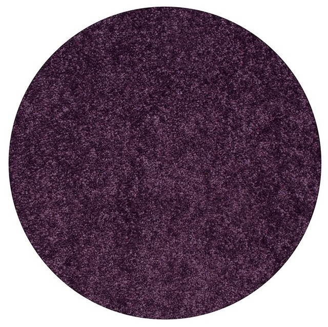 Home Queen Kids Favorite Solid Color Purple 3&x27; Round, Welcome Mats.