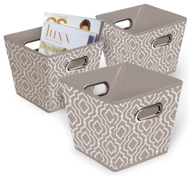 grommet bin set of 3 tan white contemporary storage bins and boxes