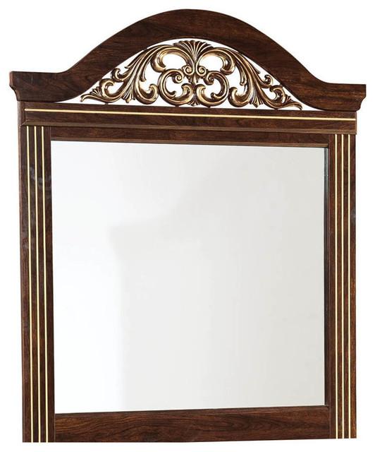 Standard Furniture Odessa Rectangular Mirror In Cherry Brown.