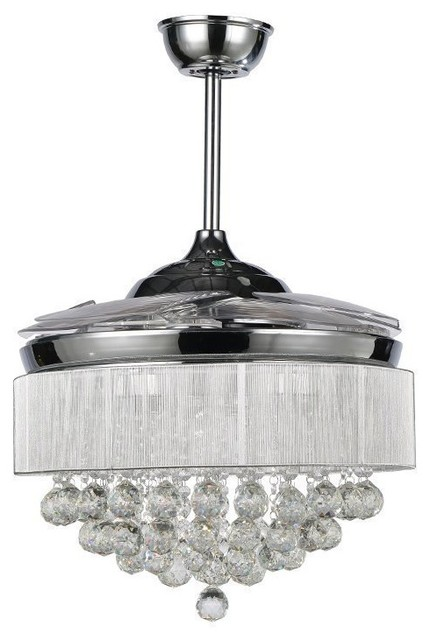 42Retractable Blades Modern LED Ceiling Fan Crystal Chandelier