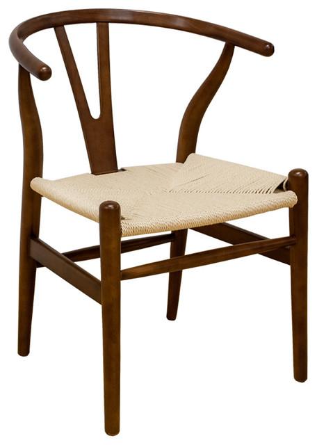 "Mod Made ""W"" Mid Century Modern Dining Side Chair, Walnut"
