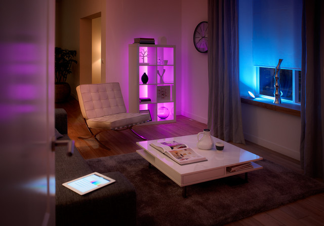 Philips hue connected led lighting eclectic living room
