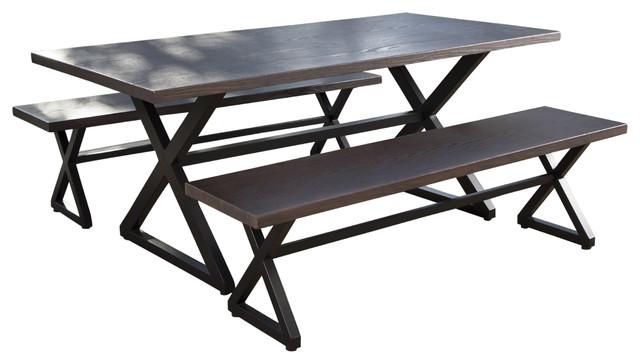 Rosarito Outdoor Piece Aluminum Picnic Set With Black Steel Frame - Aluminum picnic table frame