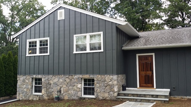 hardie board and batten siding. iron grey hardiepanel board and batten traditional-exterior hardie siding v
