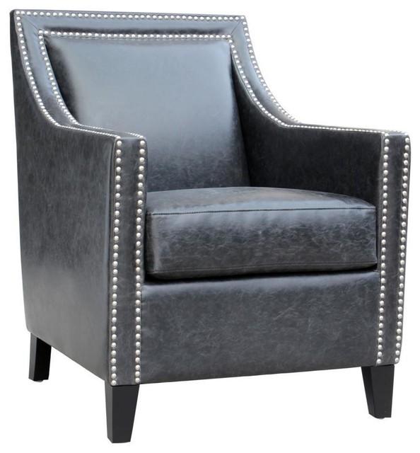 Garrett Club Chair Black Leather Transitional