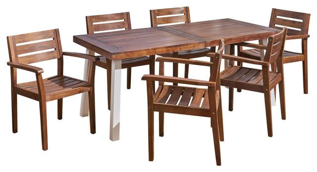 Colton Outdoor Rustic Acacia Wood 7 Piece Dining Set