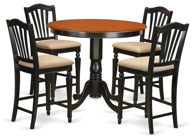 Incredible 5 Piece Counter Height Table And Chair Set Pub Table And 4 Kitchen Bar Stool Creativecarmelina Interior Chair Design Creativecarmelinacom