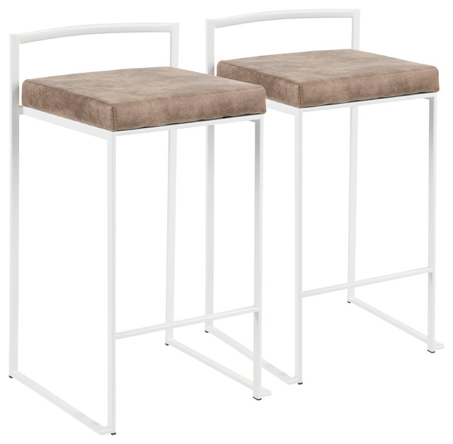 LumiSource Fuji Counter Stool, White With Brown Cowboy, Set of 2