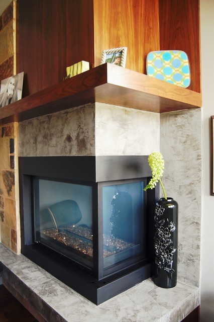 Cedar creek contemporary office fireplace contemporary kansas city