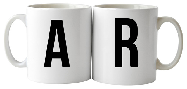 024c04708c0 Koko Letters A and R Mugs, 2-Piece Set - Contemporary - Mugs - by ...