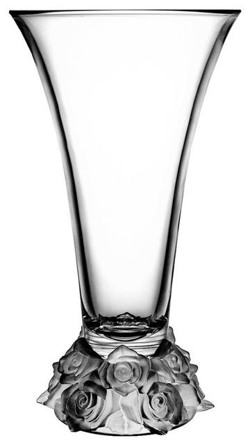 Flared Crystal Vase With Rose Design