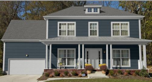 what color plant would compliment a blue house?