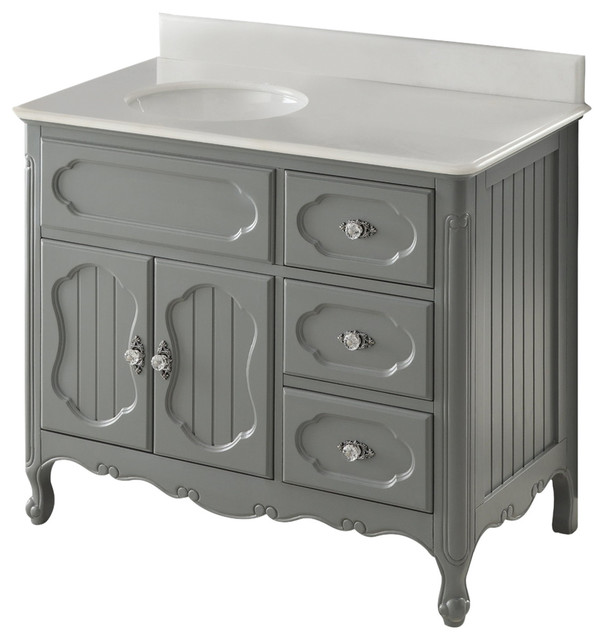 "42"" Victorian Cottage-Style White Knoxville Bathroom Sink Vanity."