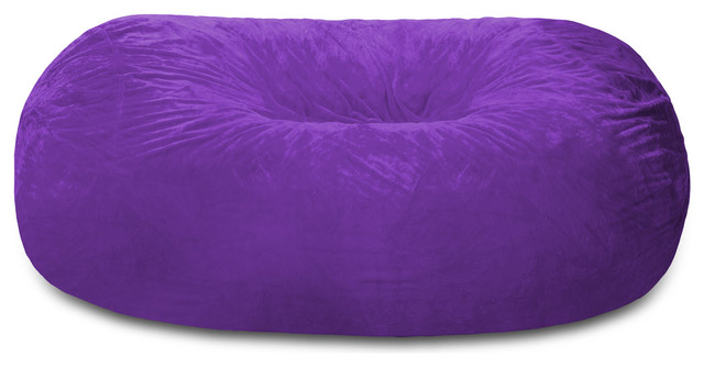 Superior Giant Bean Bag Lounger,7.5 Ft. Chill Sack, Purple Furry