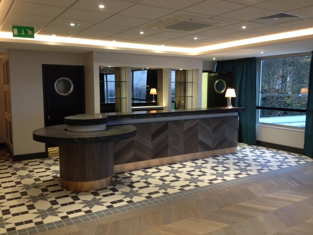 UK Hotel Reception With Chevron Pattern Flooring Contemporary Home
