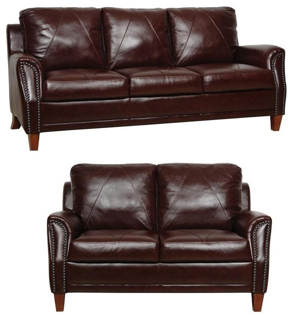 Traditional Sofas Living Room Furniture: Levi Havana Italian Leather Living Room Set, 2-Piece Set