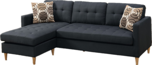 2piece reversible sectional sofa chaise set with 2 accent pillows black fabric midcentury