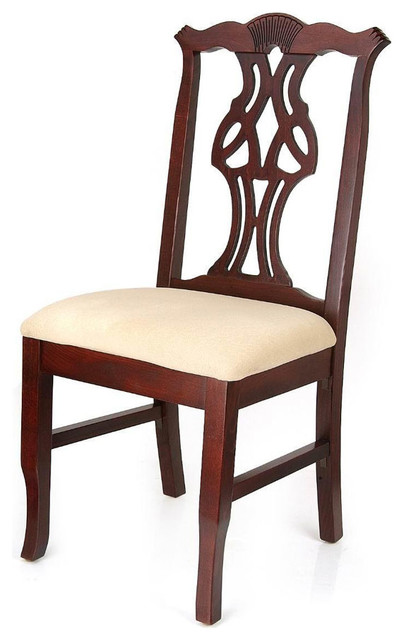 chippendale chairs dark mahogany ivory traditional dining chairs