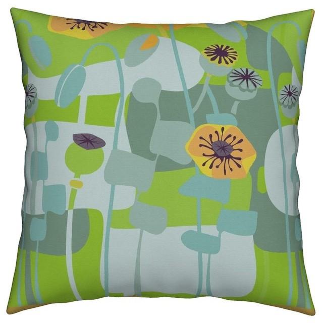 Yellow Poppies Poppy Mid Century Modern Throw Pillow Cover Linen Cotton