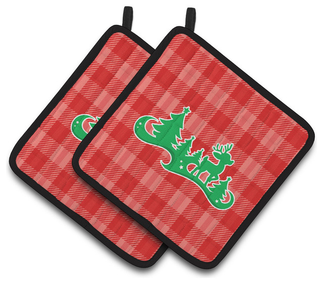 Red Pot Holders: Christmas Tree Reindeer Red Pot Holders, Set Of 2