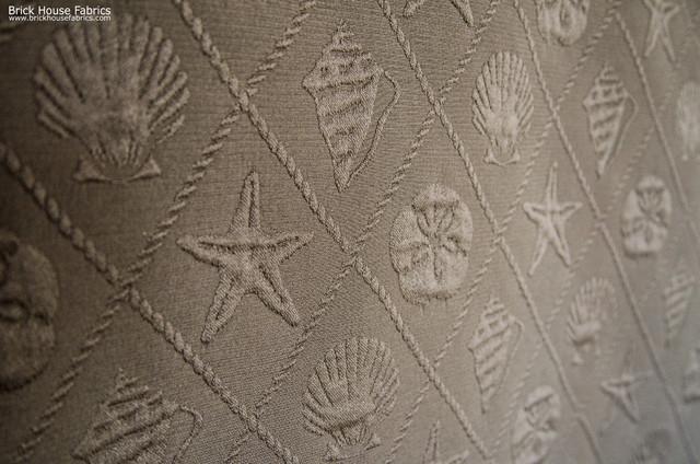 Seashell fabric ocean trellis starfish sand dollar brown