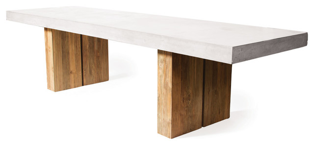 Reclaimed Teak Olympus Dining Table Large Ivory White Modern