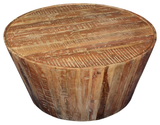 39 Rustic Reclaimed Wood Round Coffee Table