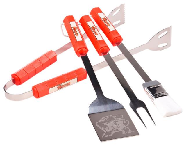 Bsi Home Kitchen Grill Accessories Maryland Terrapins 4-Piece Bbq Set.